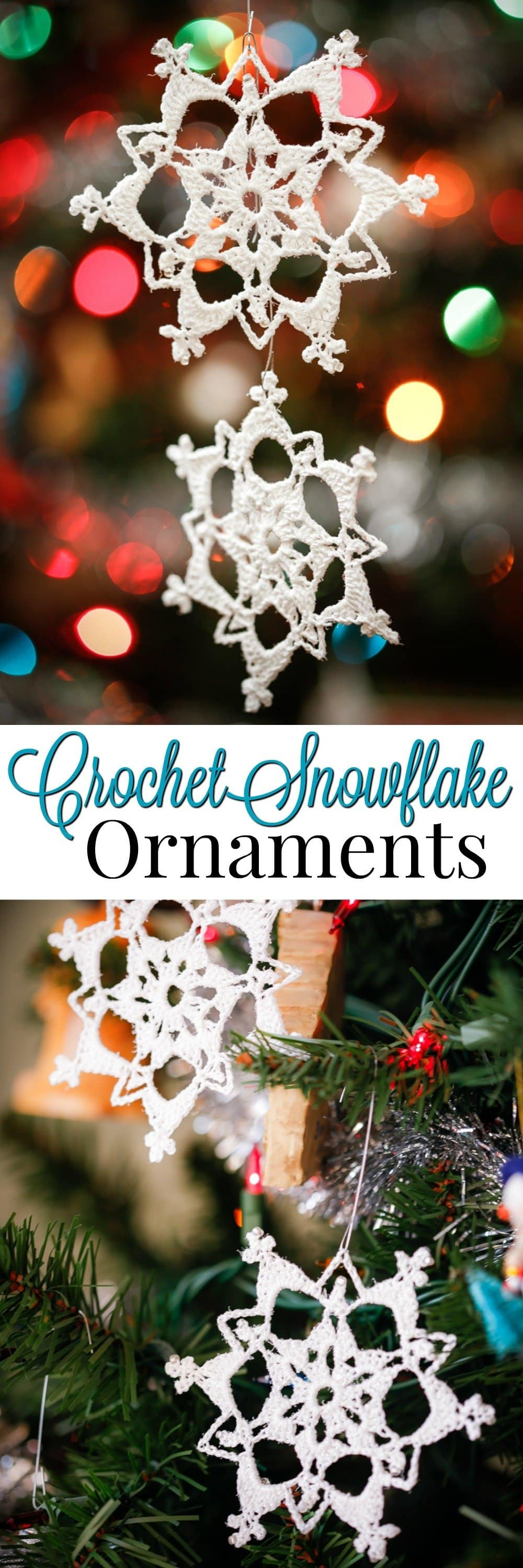 Learn to crochet beautiful Glittering Lace Crochet Snowflake Ornaments! With a free Step by Step crochet pattern with photos and instructions on how to stiffen, makes this an easy handmade ornament for your tree or a simple handmade gift for someone special.