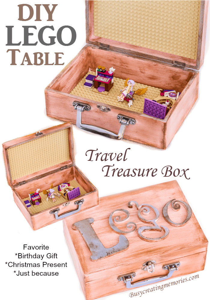Learn how to make a DIY LEGO table treasure box to take LEGO playsets on the go! Easy under bed storage. Easily portable with the foldable lid and a clasp to keep all LEGO pieces secure.  Best homemade Kids Gift ideas for Christmas, birthday parties, or just because.