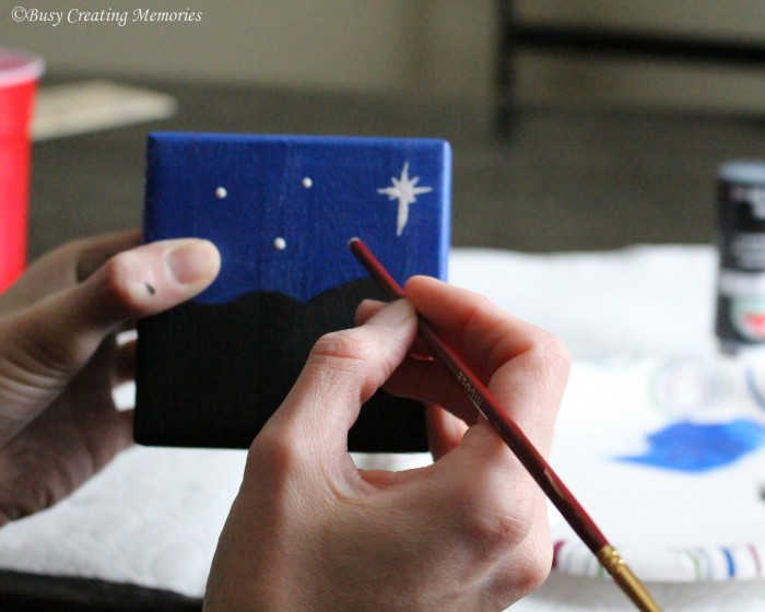 Use the back of a brush to make small stars