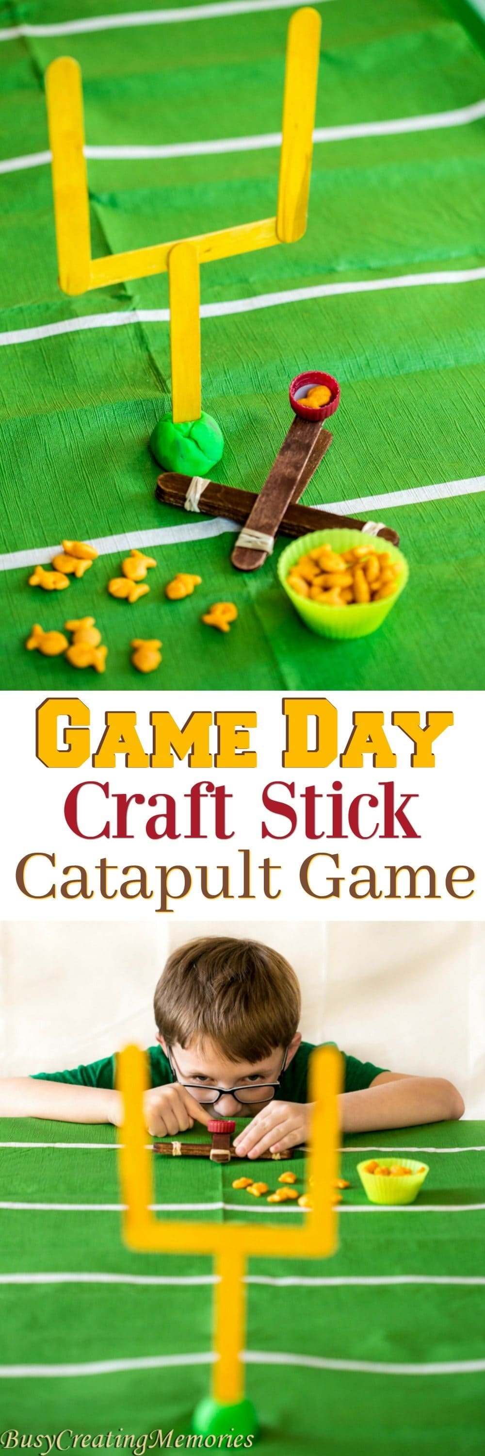 Make your Game Day Fun for the kids with this fun Craft Stick Catapult game. The football craft stick catapult game is quick and easy and great for Game Day