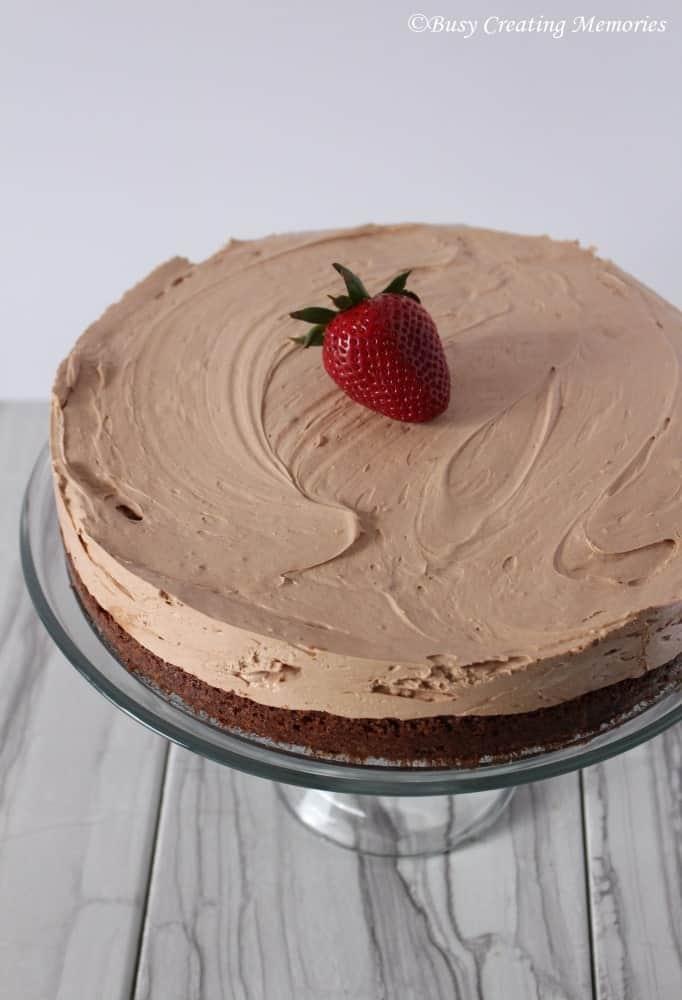 Fudgy Brownie Cheesecake, a brownie crust