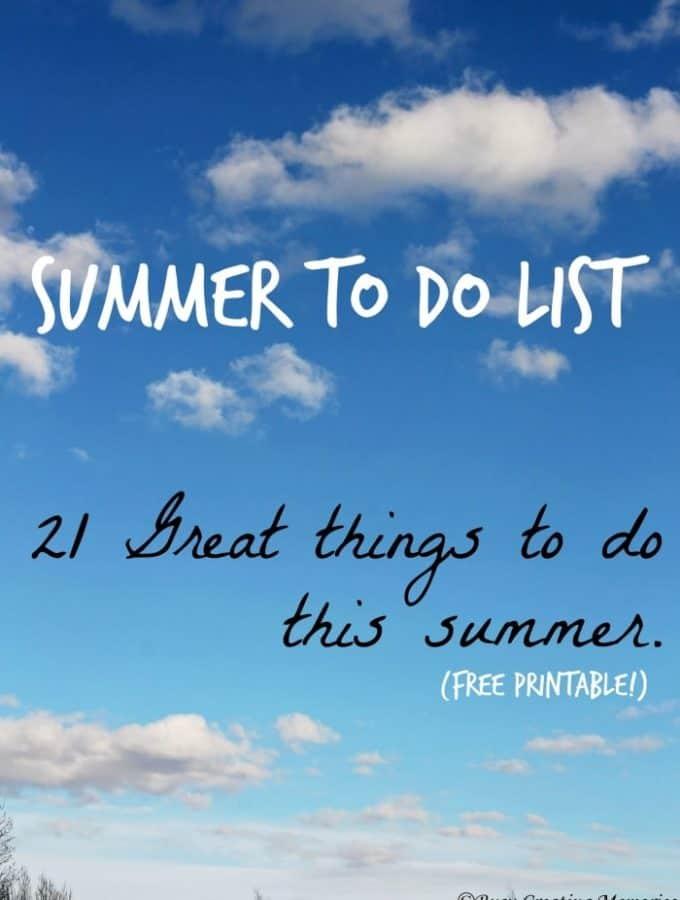 Summer To Do Checklist – Free Printable!