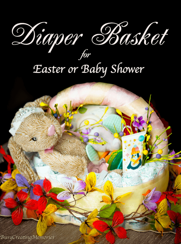 Huggies diaper basket for babys first easter or baby shower easy step by step tutorial on how to make an adorable diy diaper basket gift for negle