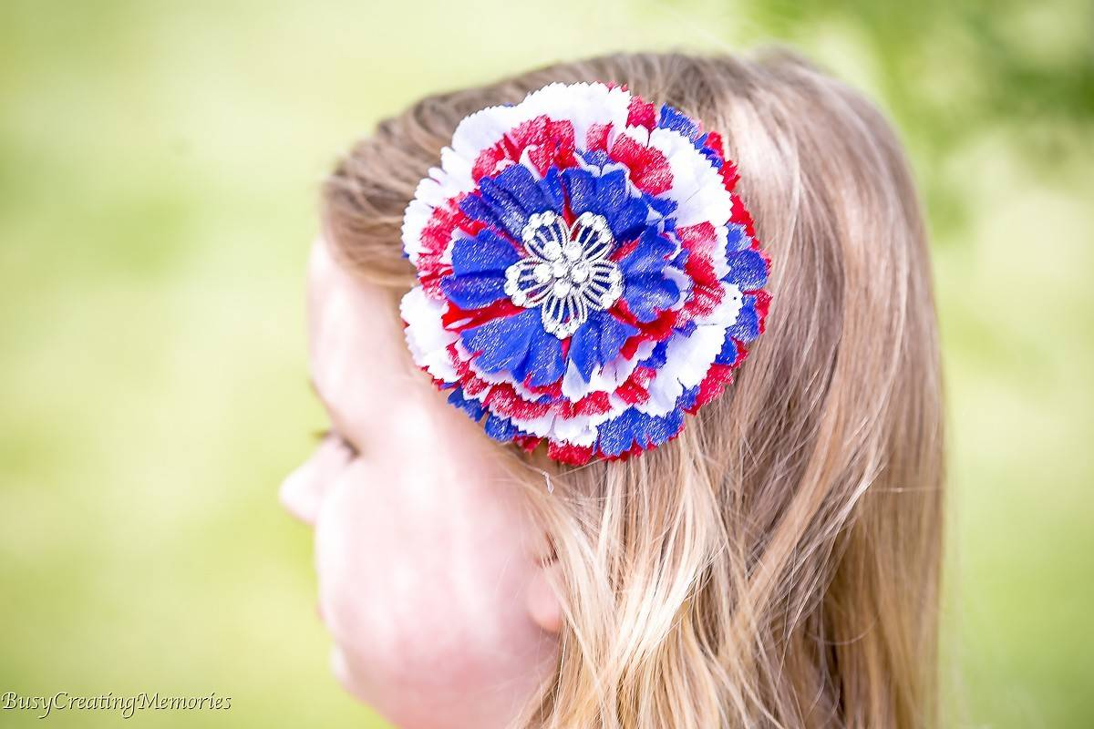 Red White and Blue Patriotic Hair Clips for girls