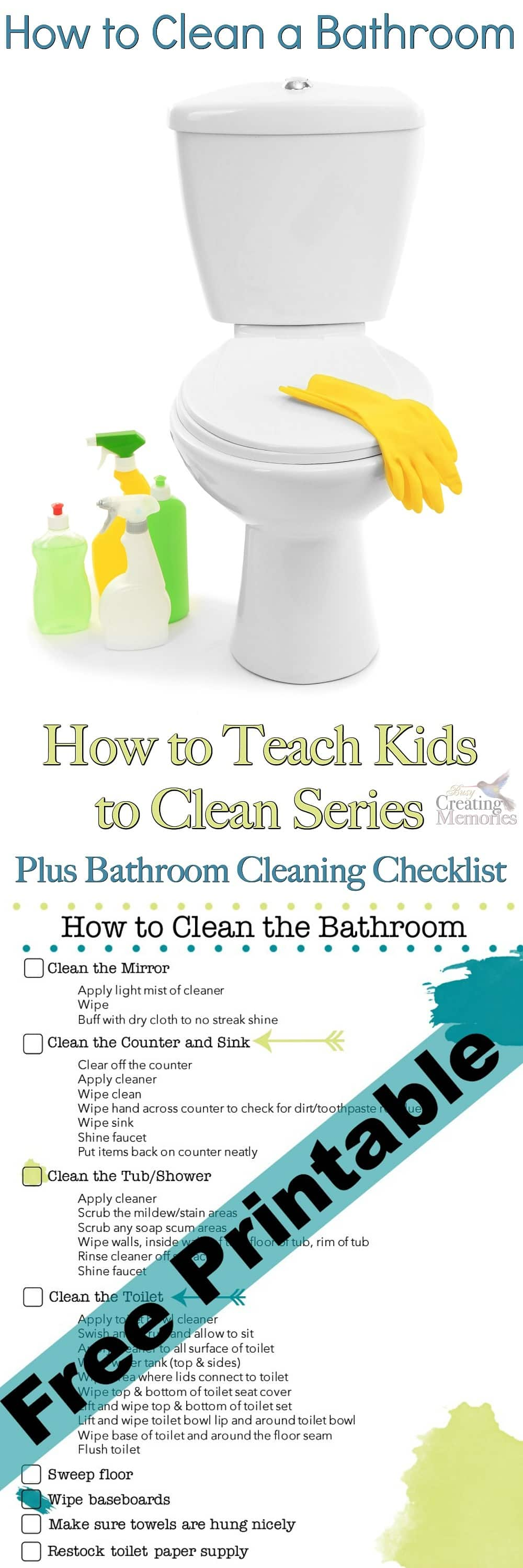 Don't live with a half clean bathroom again! Use this Bathroom Cleaning Checklist to help teach your kids how to clean a bathroom correctly the first time!