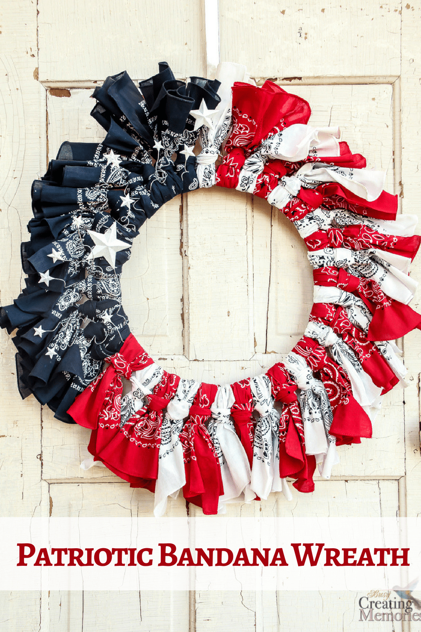 7cbdf40173b9 The Easiest Patriotic Bandana Wreath Tutorial with Video instructions