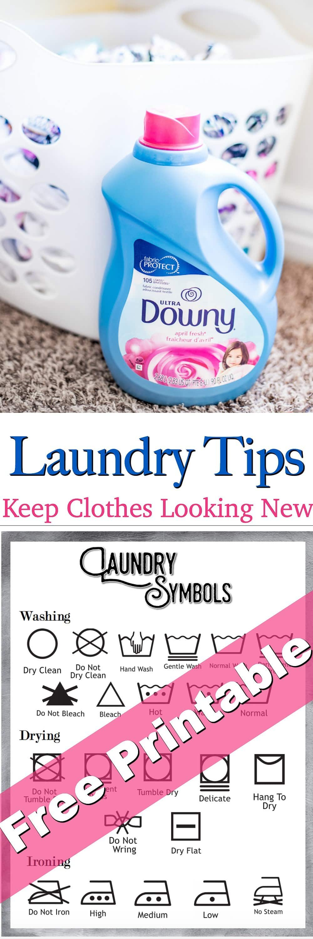 No one likes to see their clothes worn out and dull! Follow these top Laundry Tips and you will keep your clothes looking new longer!  Plus get a FREE Laundry Symbols Printable!