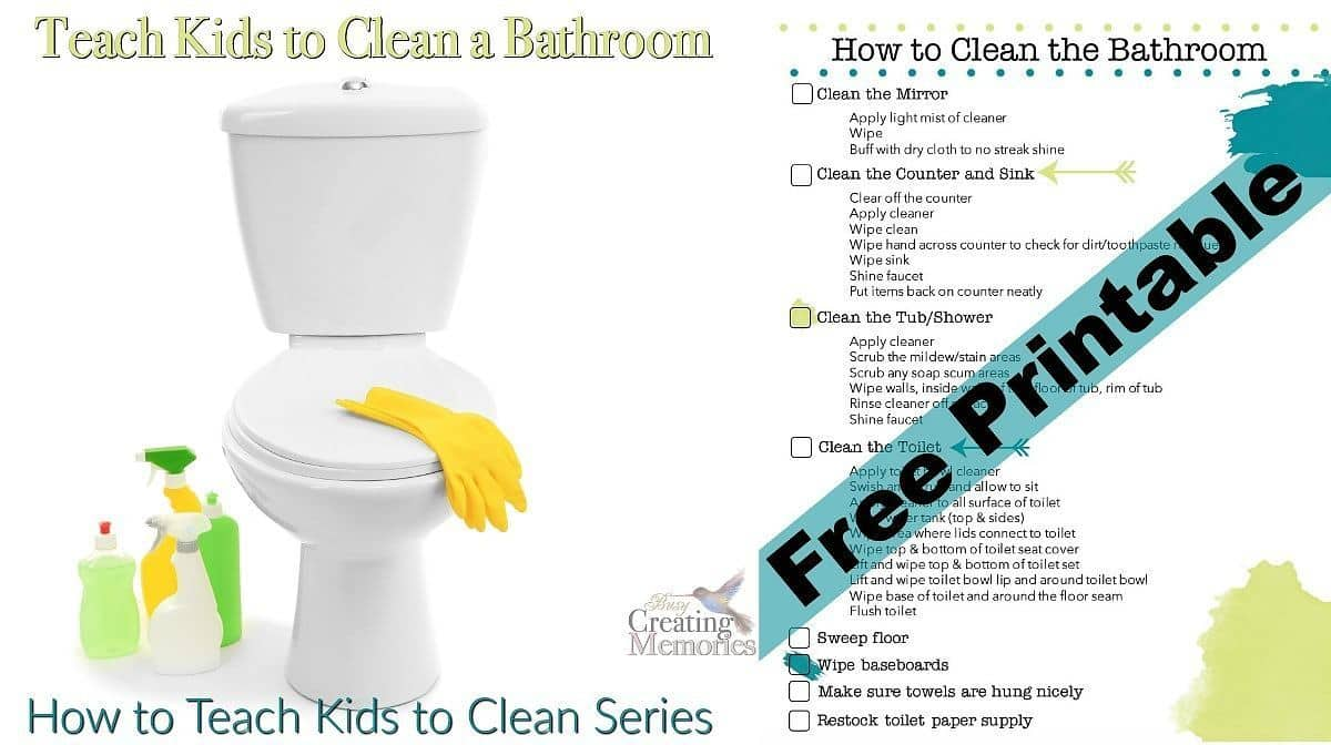 How to Clean a Bathroom + Bathroom Cleaning Checklist Printable