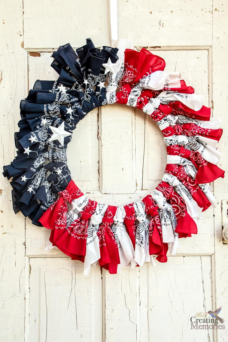 7875530f338ae The Easiest Patriotic Bandana Wreath Tutorial with Video instructions