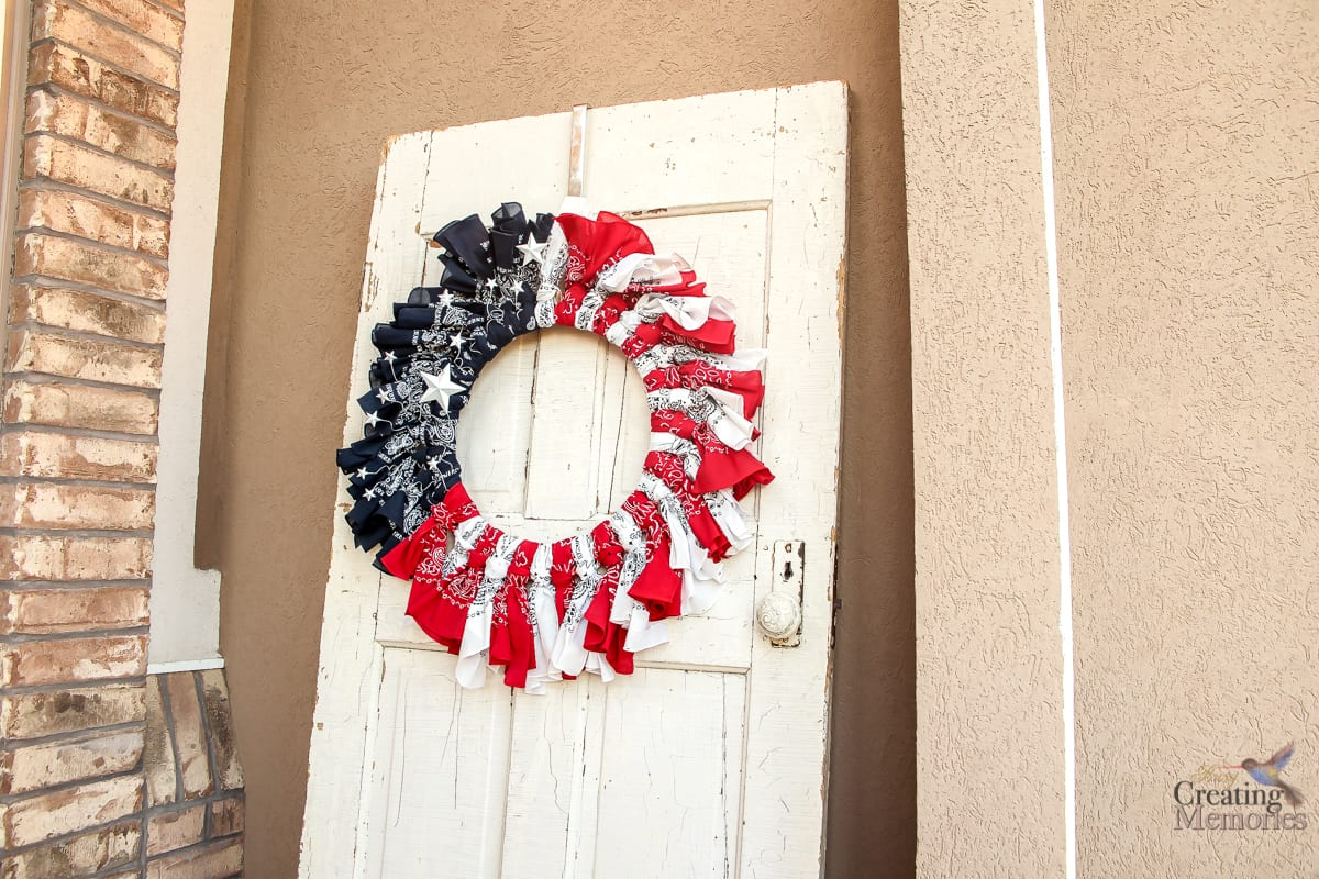 The Easiest Patriotic Bandana Wreath Tutorial with Video instructions
