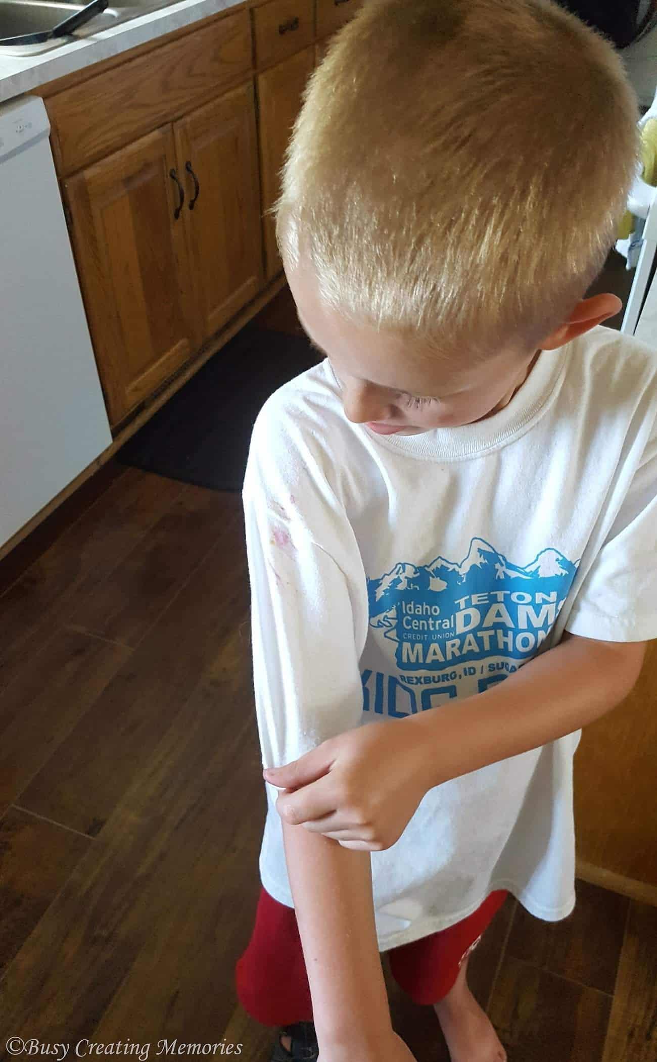 Oops - raspberries on my sleeve!