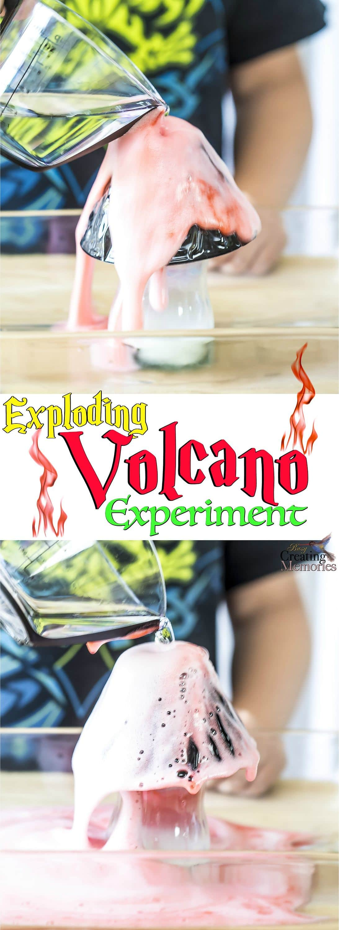 Get kids involved in hands-on activities! A very simple exploding volcano experiment that teaches kids about science and chemical reactions. All while they have fun watching a reaction made from simple household ingredients!