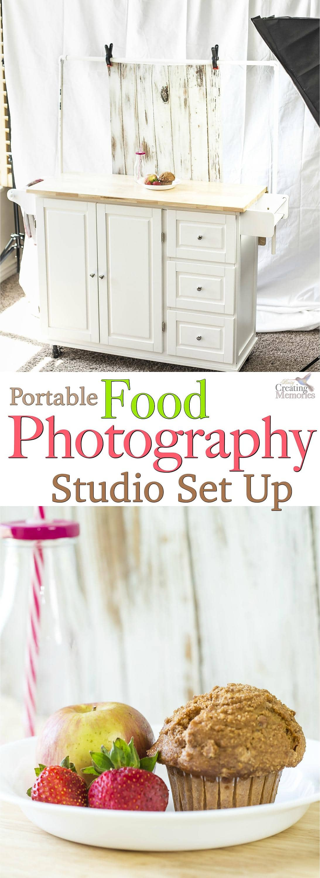 A food photographer's dream come true! Get the inside look at this portable food photography studio! This awesome studio setup is great for food and craft photography. It also features a simple DIY backdrop frame tutorial