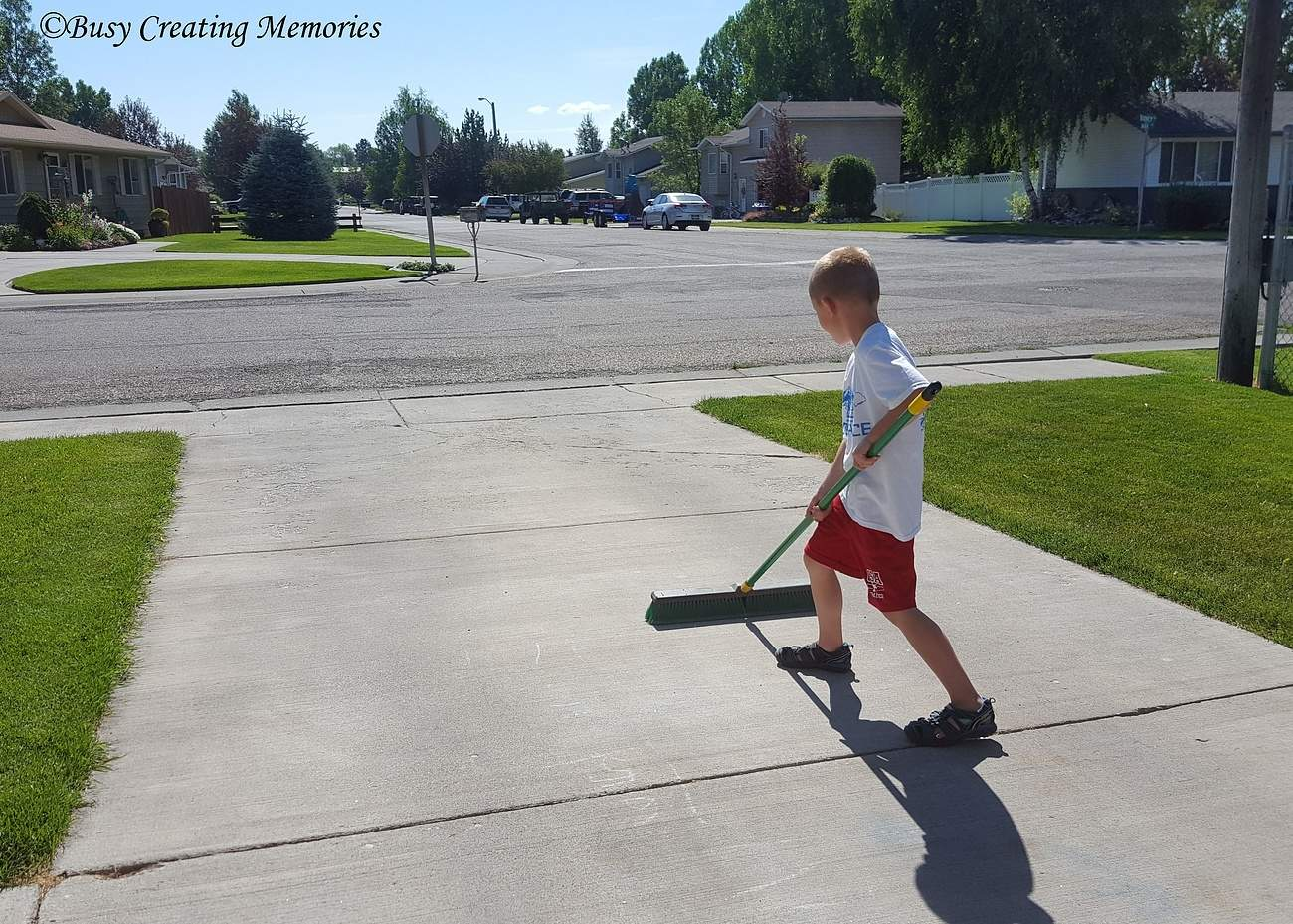 Sweeping the driveway