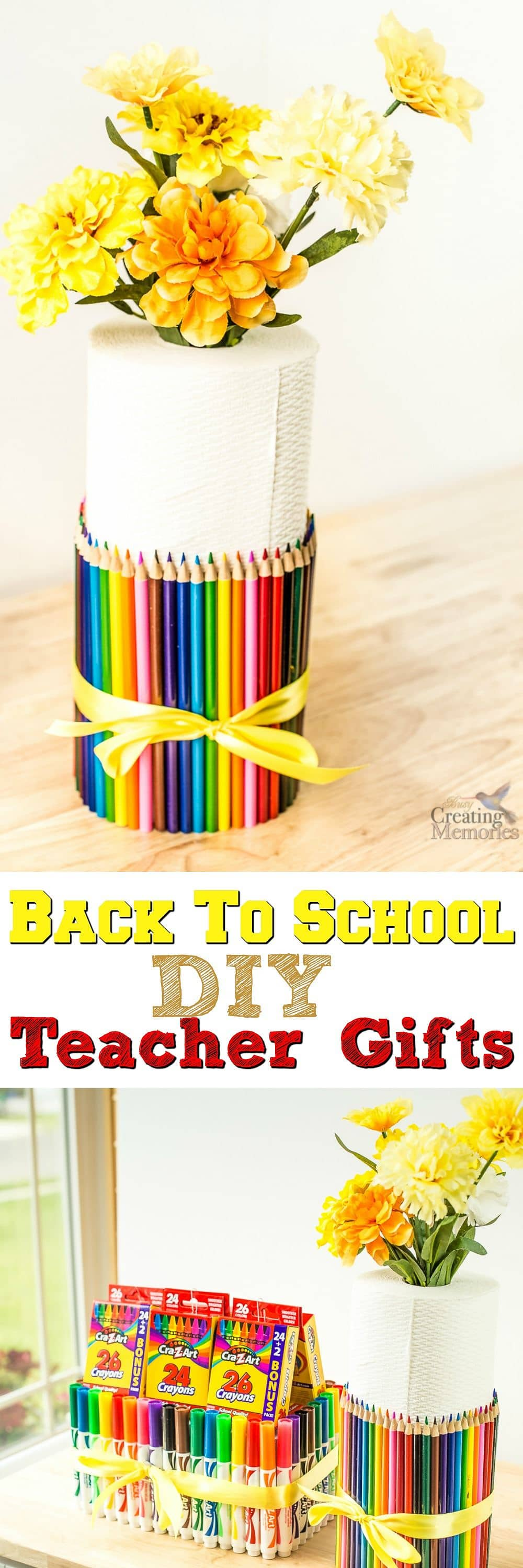 Create these easy Teacher Gifts to start our school year off right! Full of School Supplies that support the classroom and your child's education in a cute package. Plus earn Double Box Tops at the same time for your classroom!