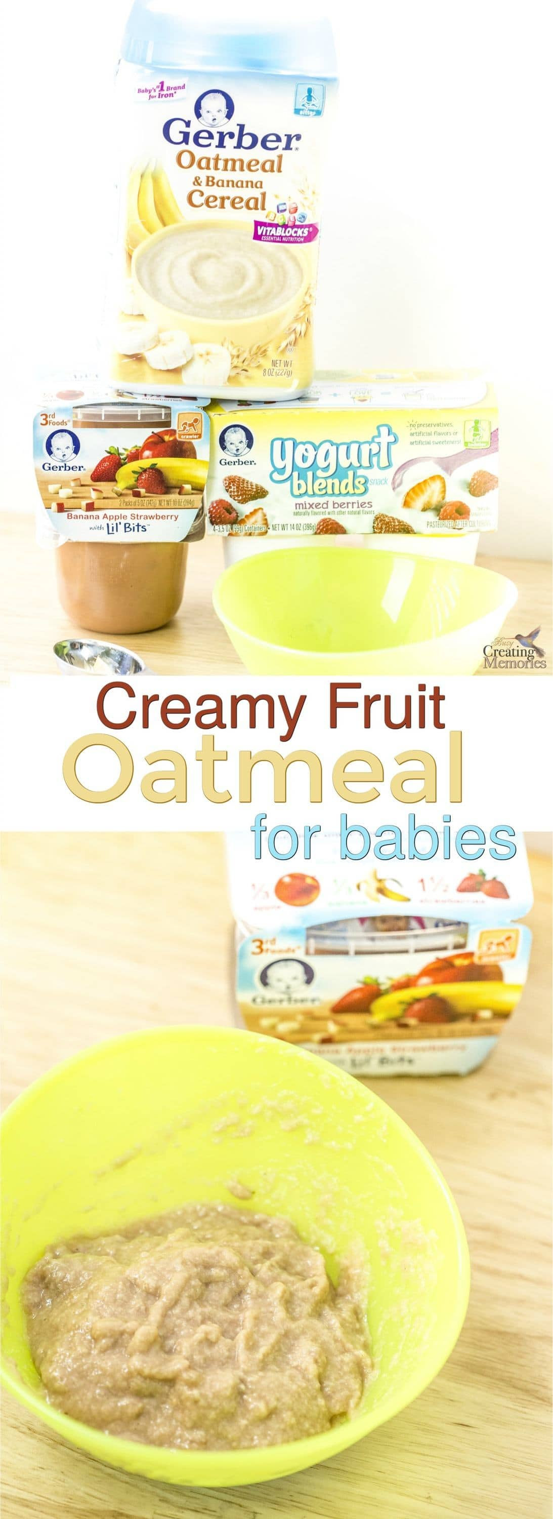 When your little one is learning to chew, finding appropriate foods can be a challenge. Try this creamy fruit oatmeal for babies to give them texture, flavor and nutrition for developmental needs!