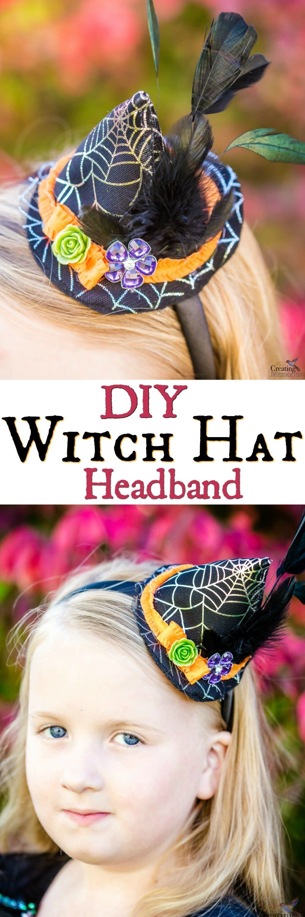 This is a quick and easy step by step DIY tutorial pattern on how to make a Mini witch hat headband for your baby, young girls, and adults. Works for all sizes. Using black felt, orange ribbon, feathers, a button and rose resin cabochons. Makes beautiful photo props or a great last-minute Halloween accessory craft for the best Witch Costume!