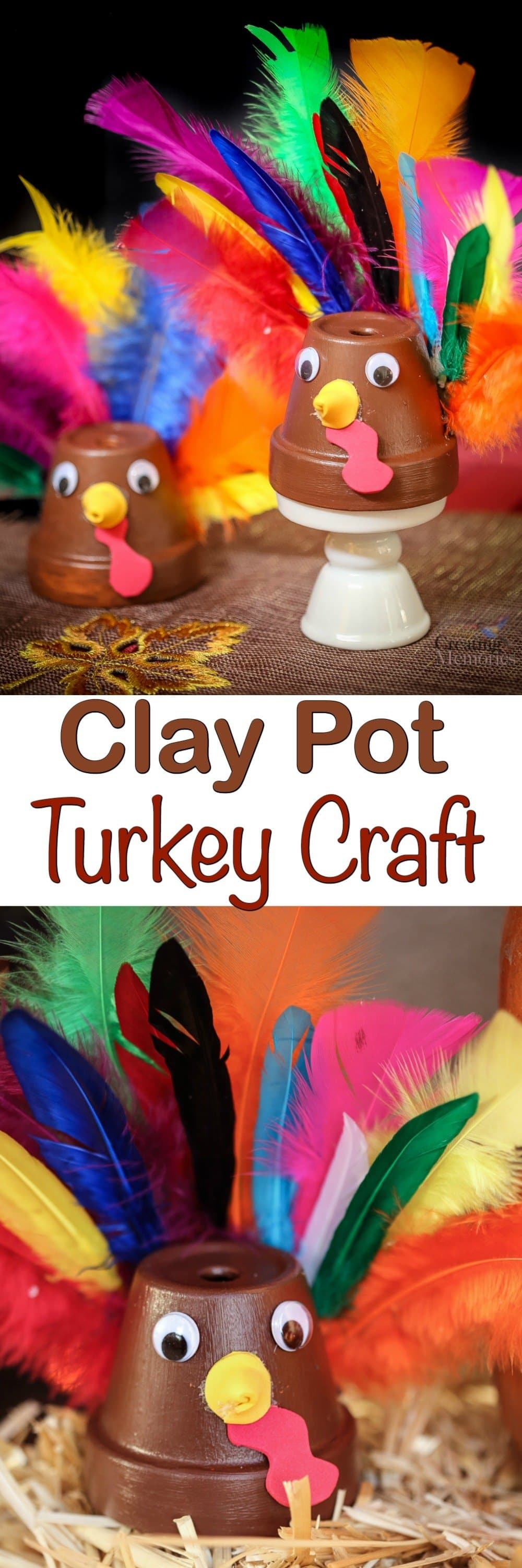 Looking for Last minute Thanksgiving crafts? You will love this easy Clay Pot Turkey Craft using a Terra cotta pot! It makes a fun craft for kids or adults!