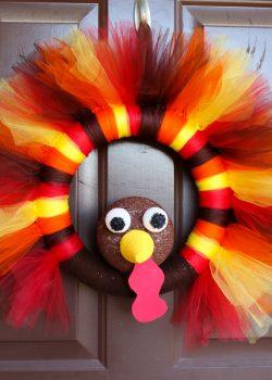 DIY Turkey Tulle Wreath Tutorial