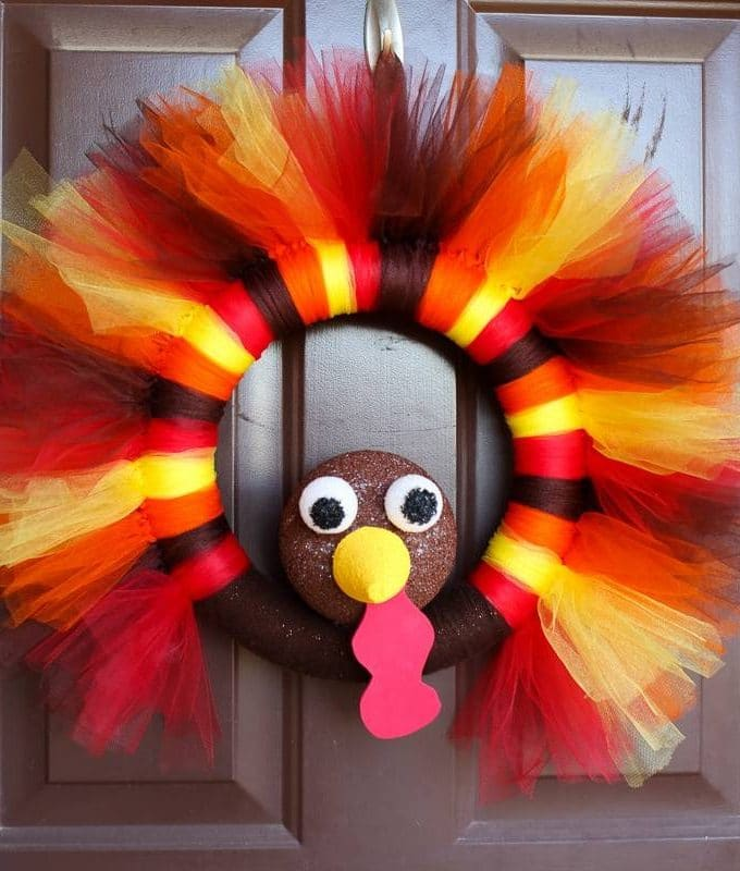 DIY Turkey Tulle Wreath Tutorial