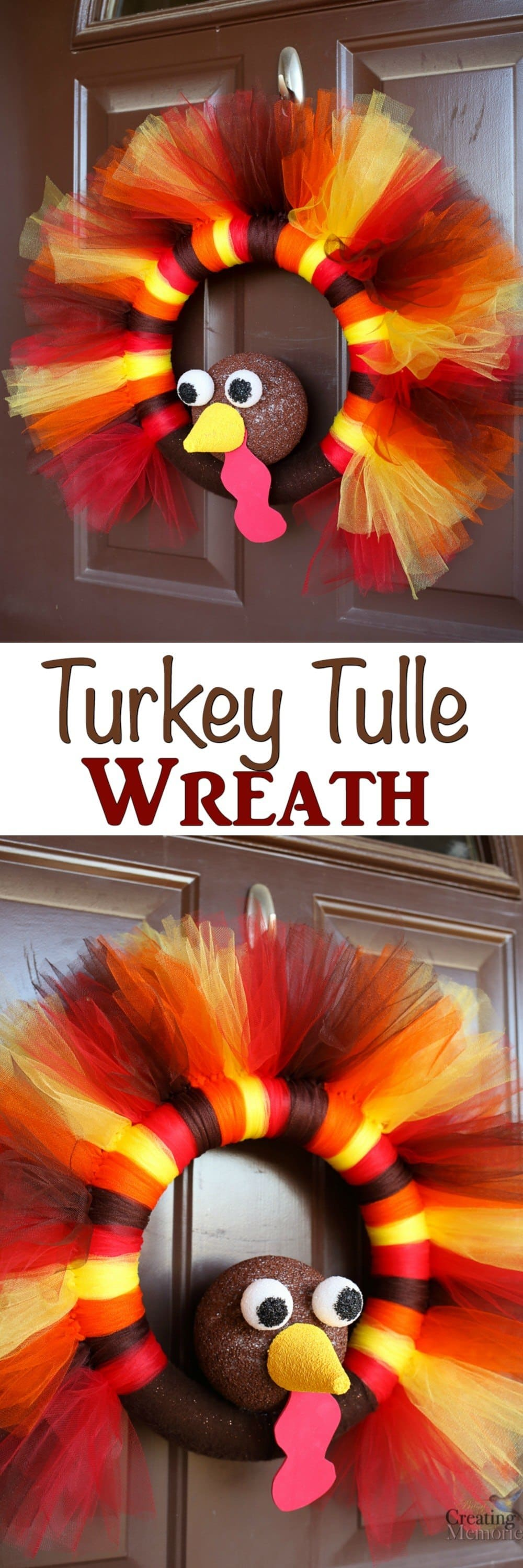 Diy turkey tulle wreath best thanksgiving for your door