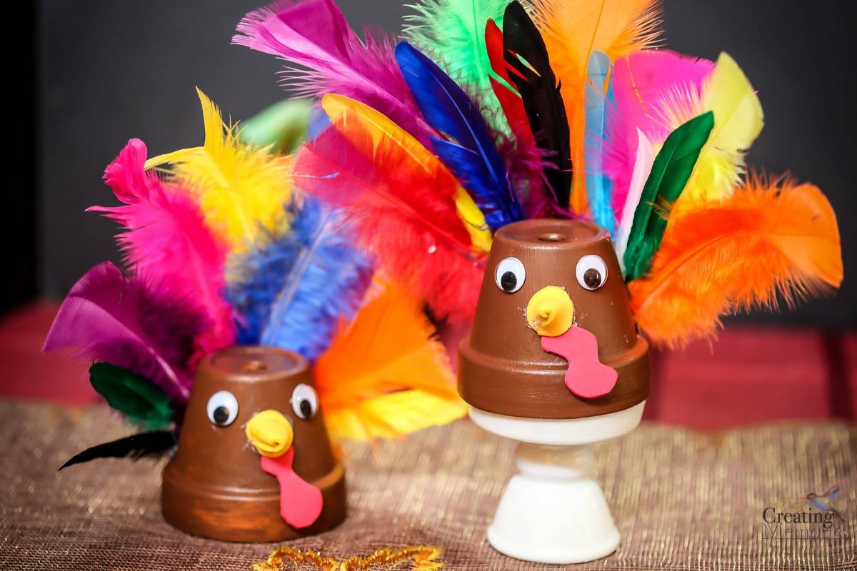 DIY Clay Pot Turkey Craft for kids, Great Last minute Thanksgiving Craft