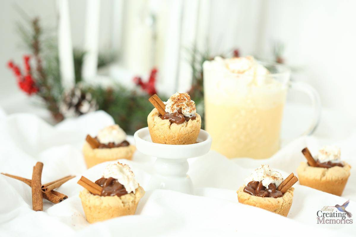 Eggnog Cookie Cups Easy Chocolate filled Christmas Cookies