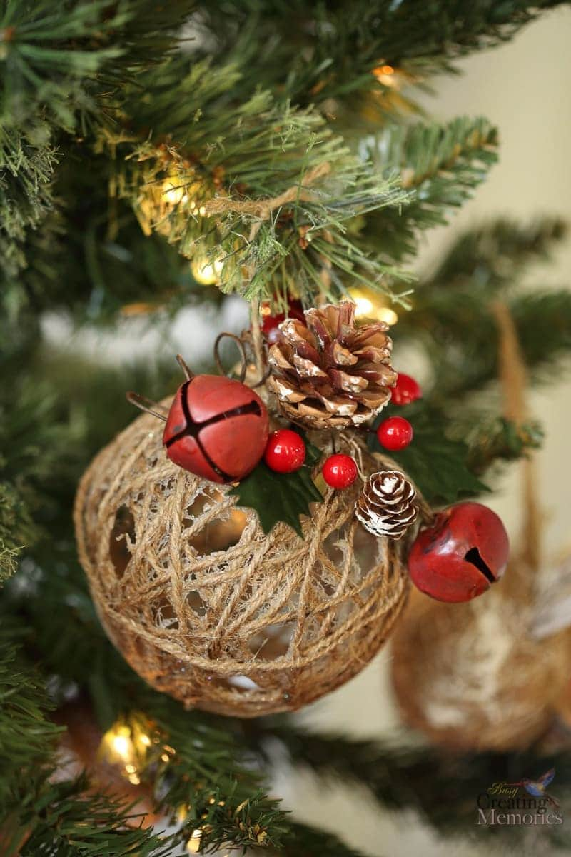 Rustic christmas ornaments tutorial easy glittered twine for How to design a christmas ornament