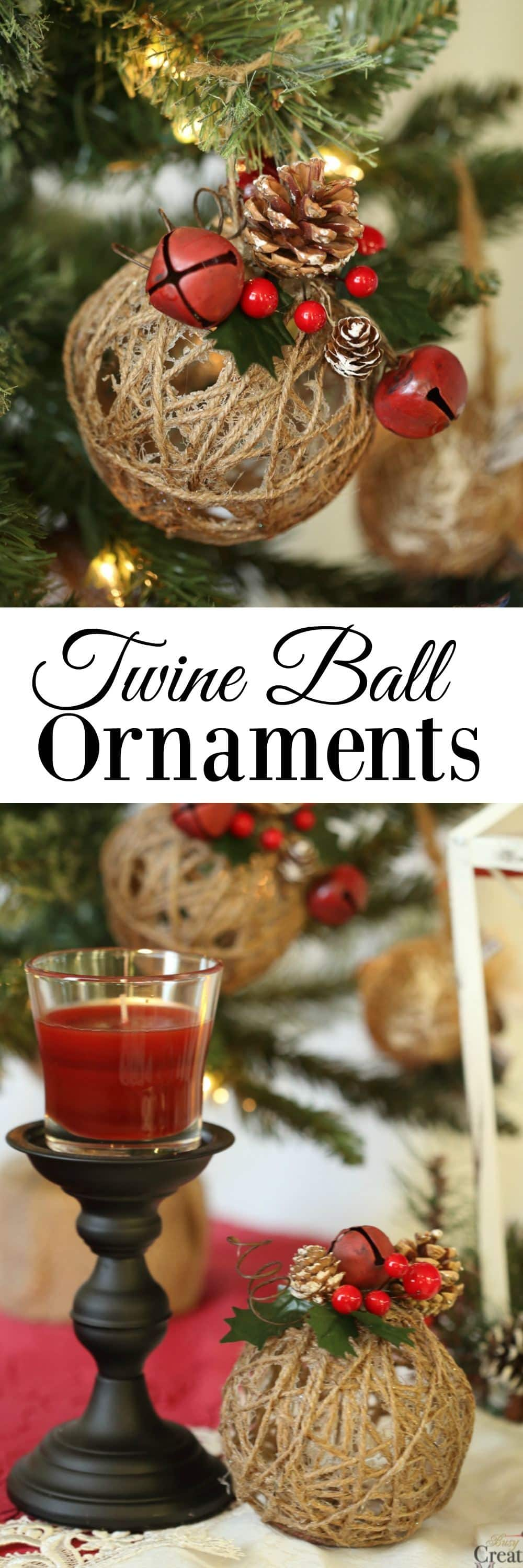 Bring a Holiday atmosphere to your home by creating Rustic Christmas Ornaments with this tutorial for Glitter Twine Ball Ornaments.