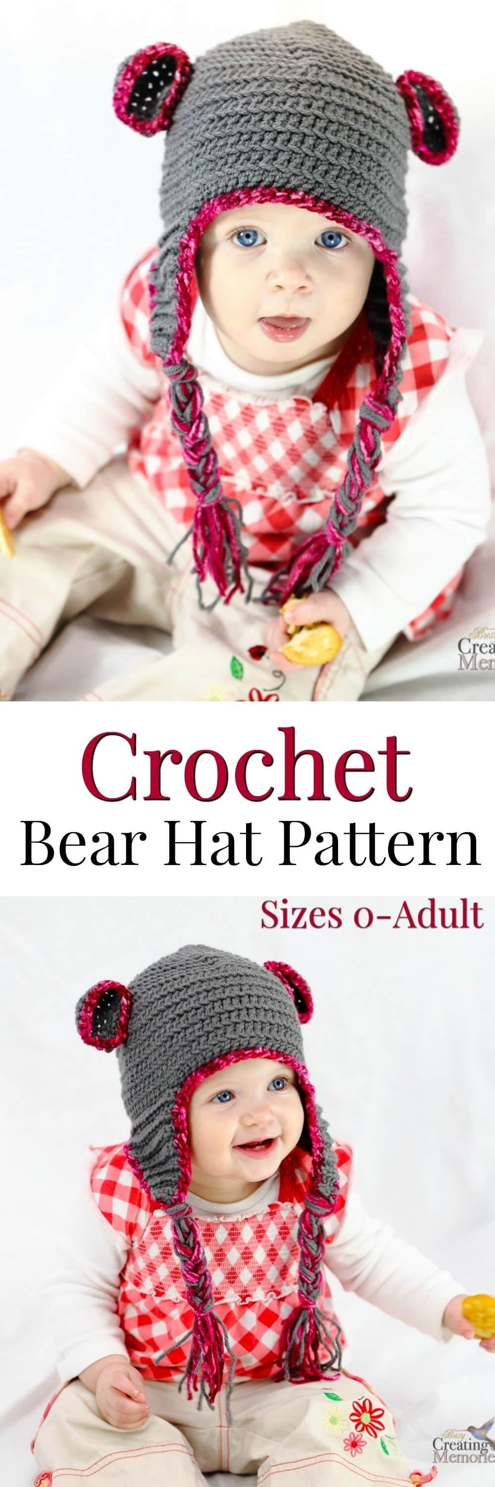 A comfortable and cute Teddy Bear crochet baby hat with earflaps. Pattern includes size variations for newborn through adult + gift basket ideas for a new mom