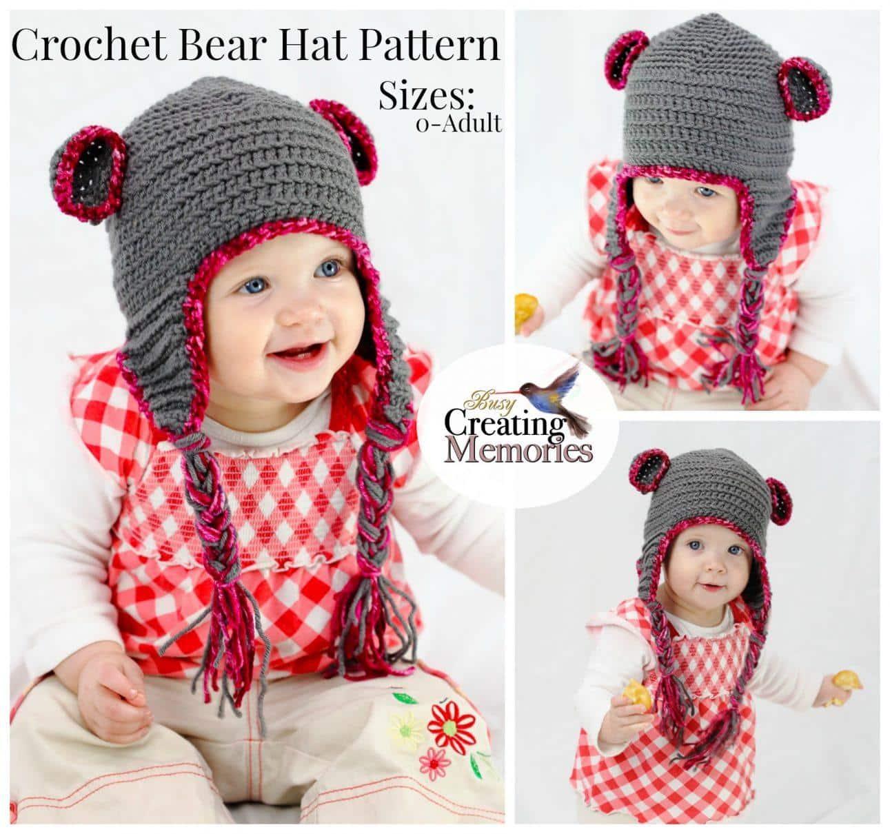 Easy Teddy Bear Crochet Baby Hat pattern