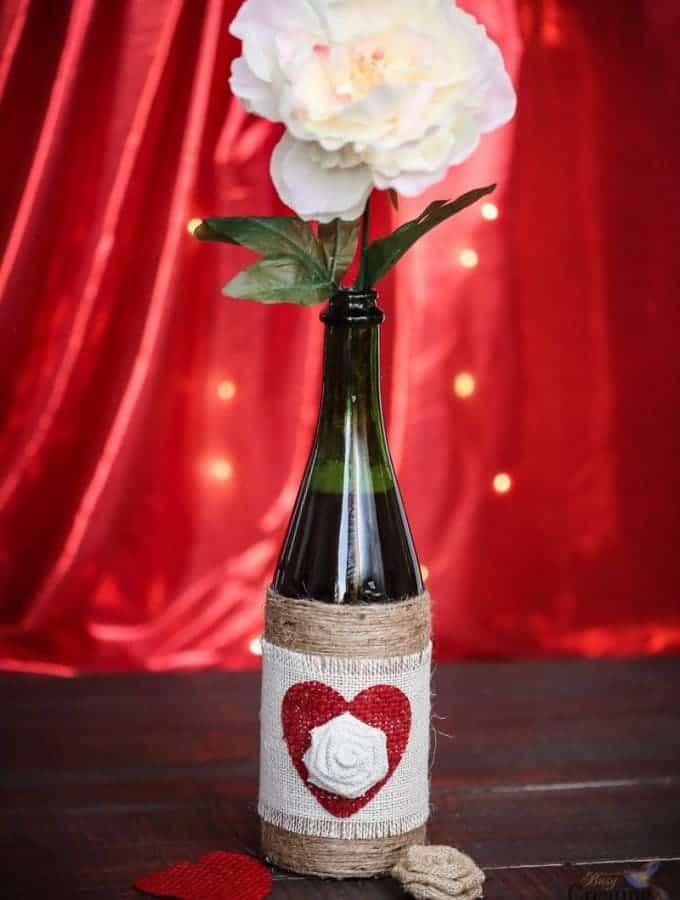 DIY Upcycled Bottle Vase Valentine's Day gift