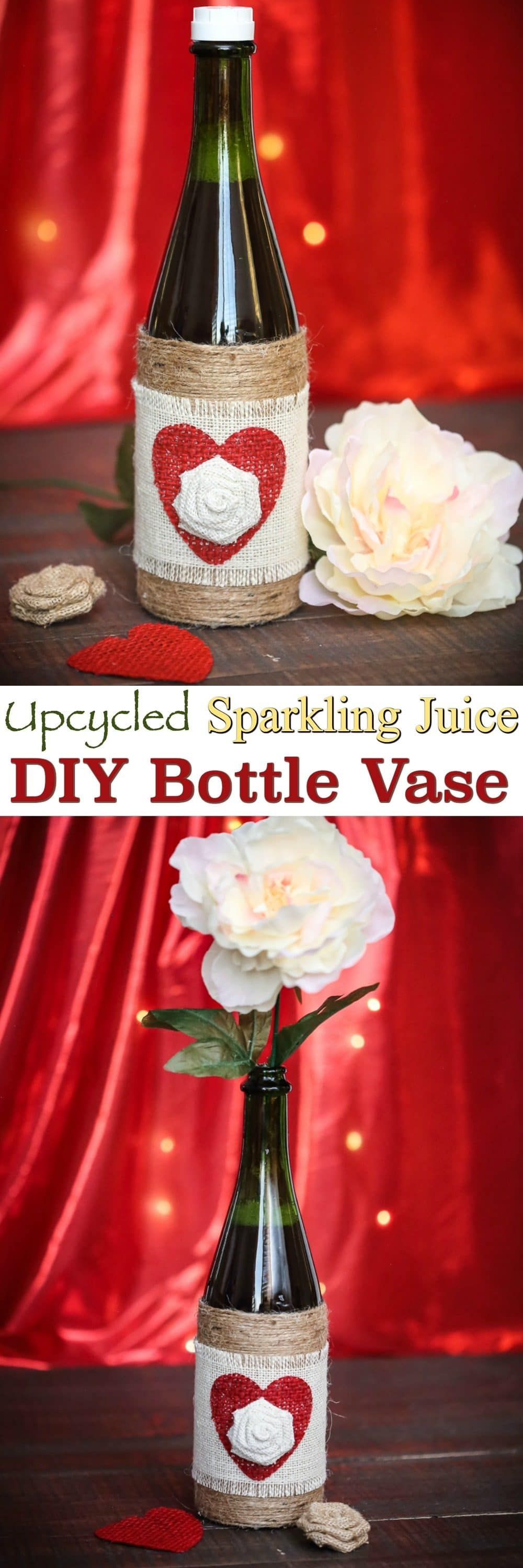 Try a DIY Sparkling Juice Bottle Vase: these upcycled bottles make excellent Valentine's Day gifts for friends, significant other or even a Teacher! Then later it can be used as an adorable vase for silk or fresh cut flowers!