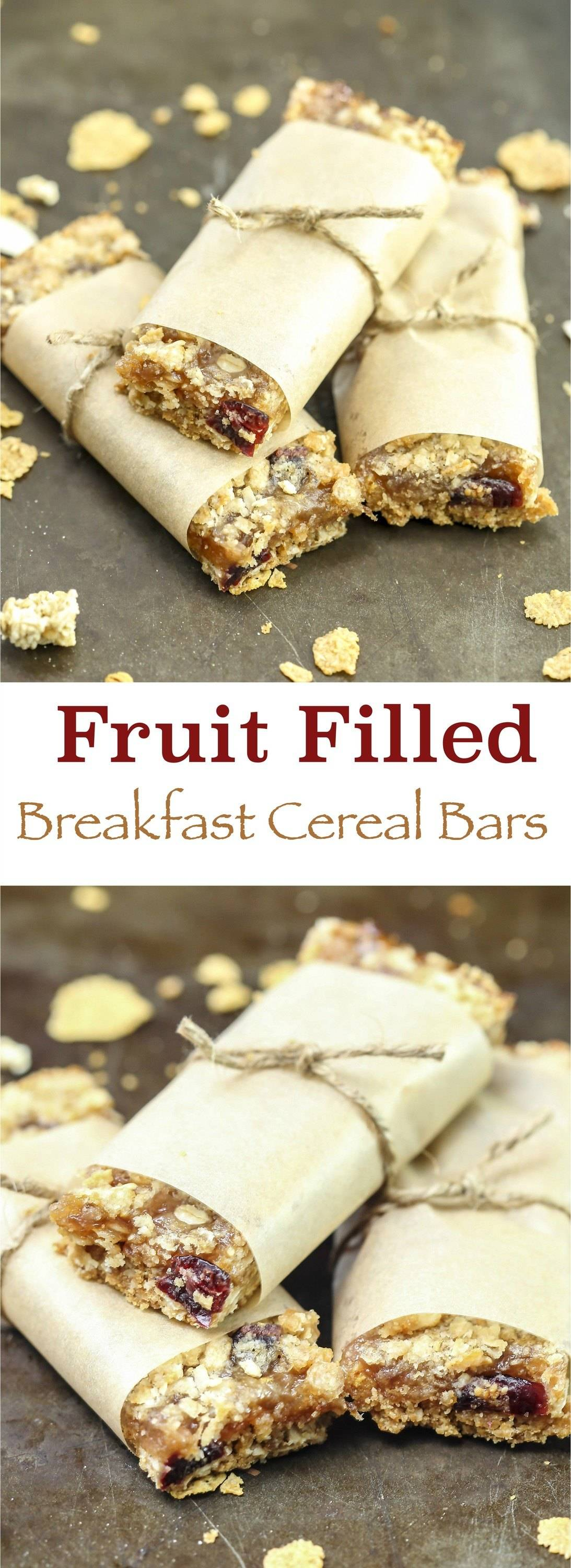 These homemade fruit filled breakfast cereal bars are a great way to start your mornings with a boost. Packed full of fiber, dried fruit, jam, nuts, and flavor to fuel your day on the go! This simple recipe also makes great healthy school snacks for kids!