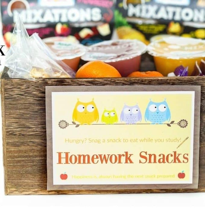 DIY Homework Snack Station + Printable