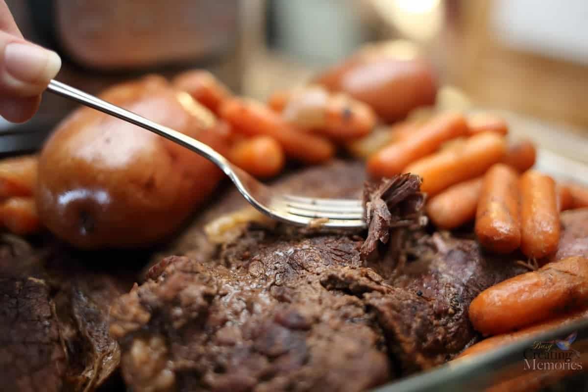 The Best Pressure Cooker Pot Roast & Gravy Recipe in one pot!