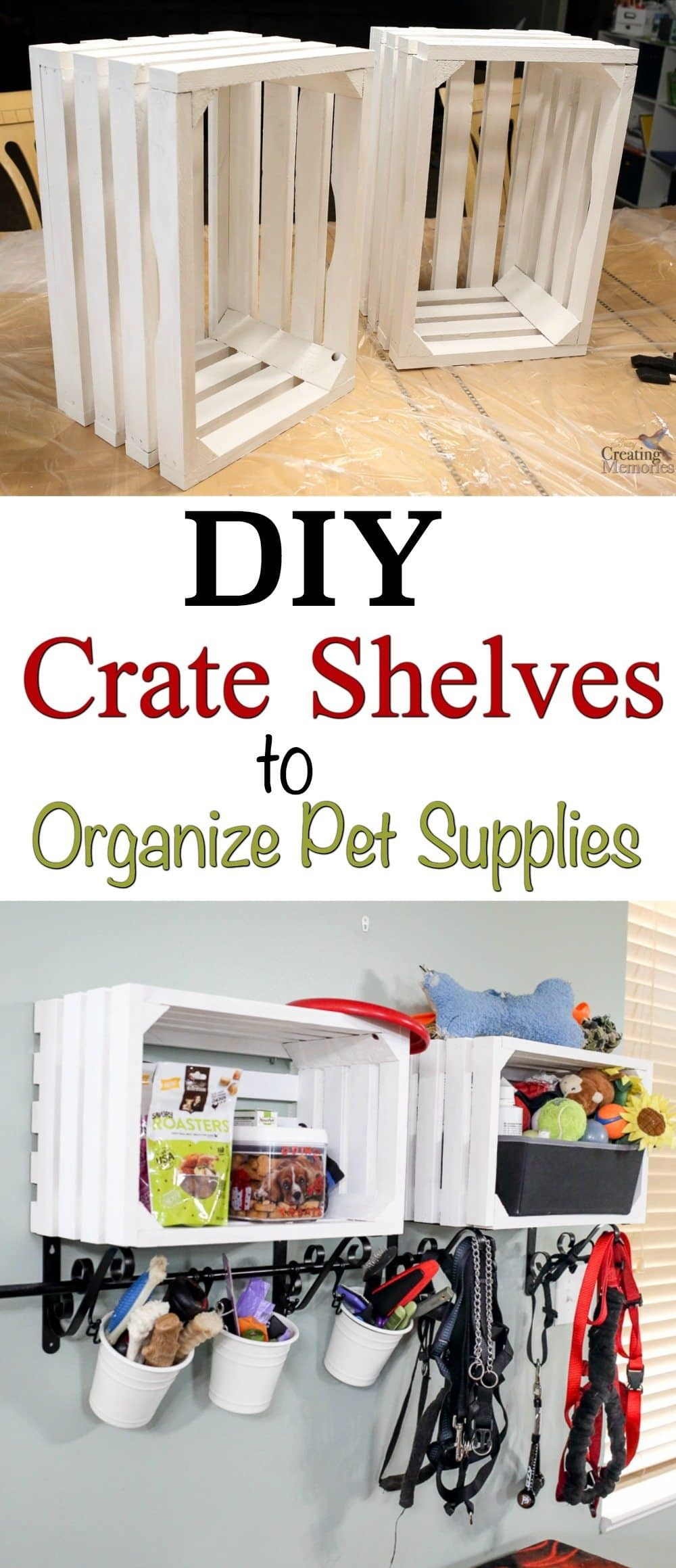 Turn ordinary wooden crates into cool crate shelves for organizing pet supplies or a variety of other house organizing such as toys, books, dishes, or linen