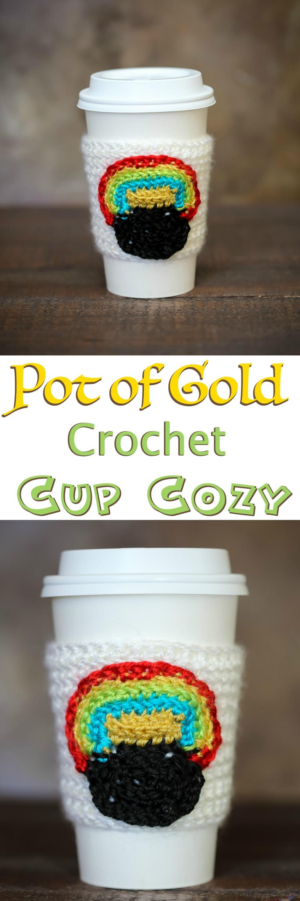 An Easy and free crochet pattern for a Pot of Gold Cup Crochet Cozy! Perfect for insulating your hot cocoa or as a Hot coffee sleeve on St. Patrick's Day! This DIY crochet projects Fits a Starbucks Grande Cup!