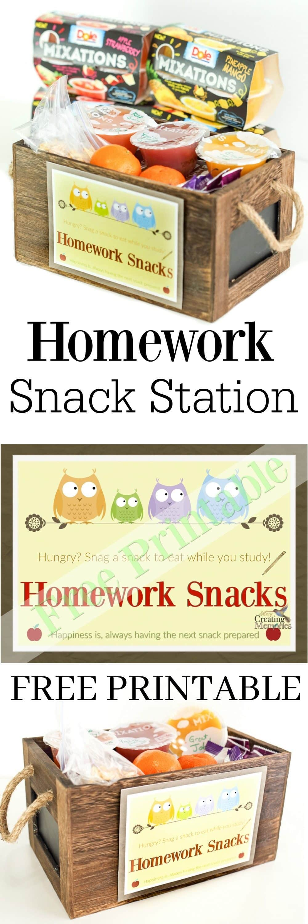 Don't let hungry kids ruin your evening! Set up a simple Homework Snack Station w/ free printable! Kids enjoy a healthy snack while they work on homework.