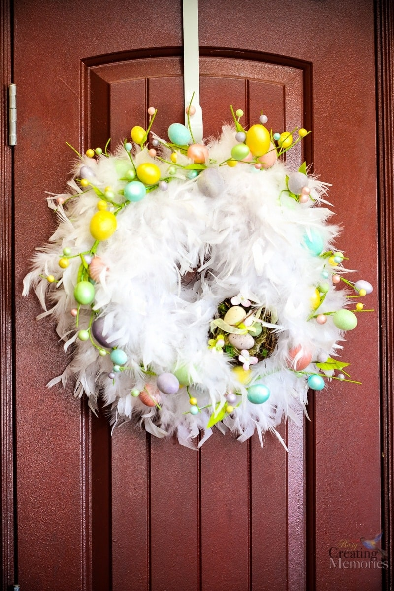 Stunning Chic DIY Feather Easter Wreath in only 30 minutes