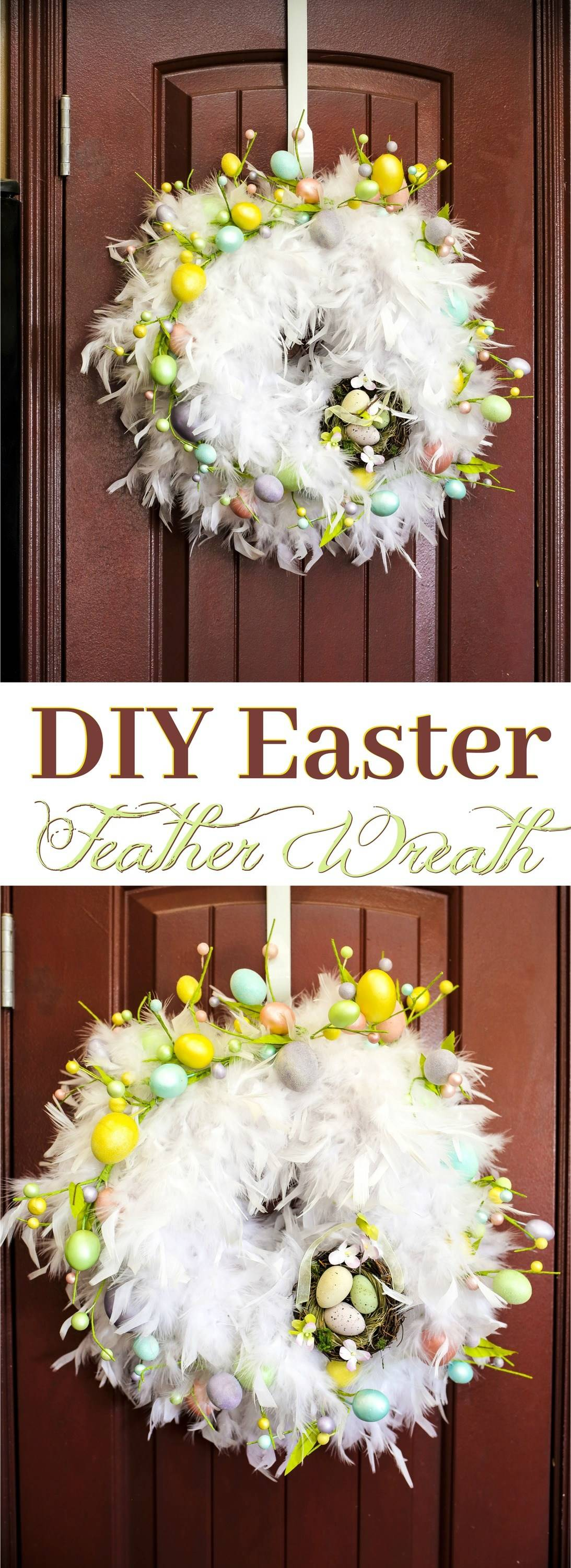 Make a statement with a stunning, chic DIY White feather Easter Wreath in only 30 minutes! Discover how to make this easy DIY Feather Wreath only costs about $25 and is the perfect home accent!