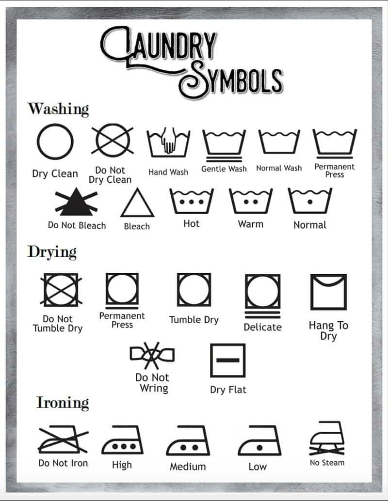It is a photo of Effortless Printable Laundry Symbols