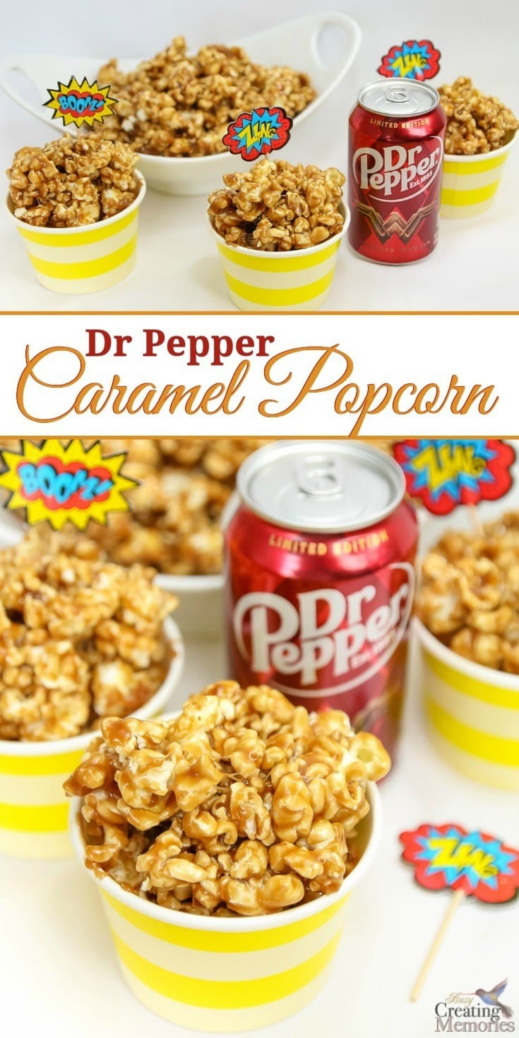 Only the best Caramel Popcorn ever! This easy homemade Dr. Pepper Caramel Popcorn is creamy and sweet with just a hint of authentic Dr. Pepper flavor and makes the perfect snack for movie parties. This recipe uses real Dr Pepper reduced to a syrup, sweetened condensed milk to keep the caramel soft and chewy (and not break your tooth hard). It also packages well for treat gift bags!