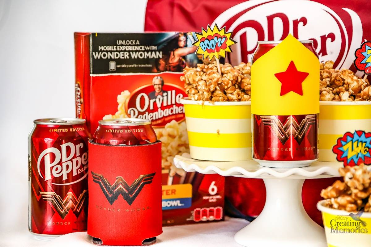 Dr Pepper Caramel Popcorn + free Wonder Woman Inspired Printable Bottle Wrapper