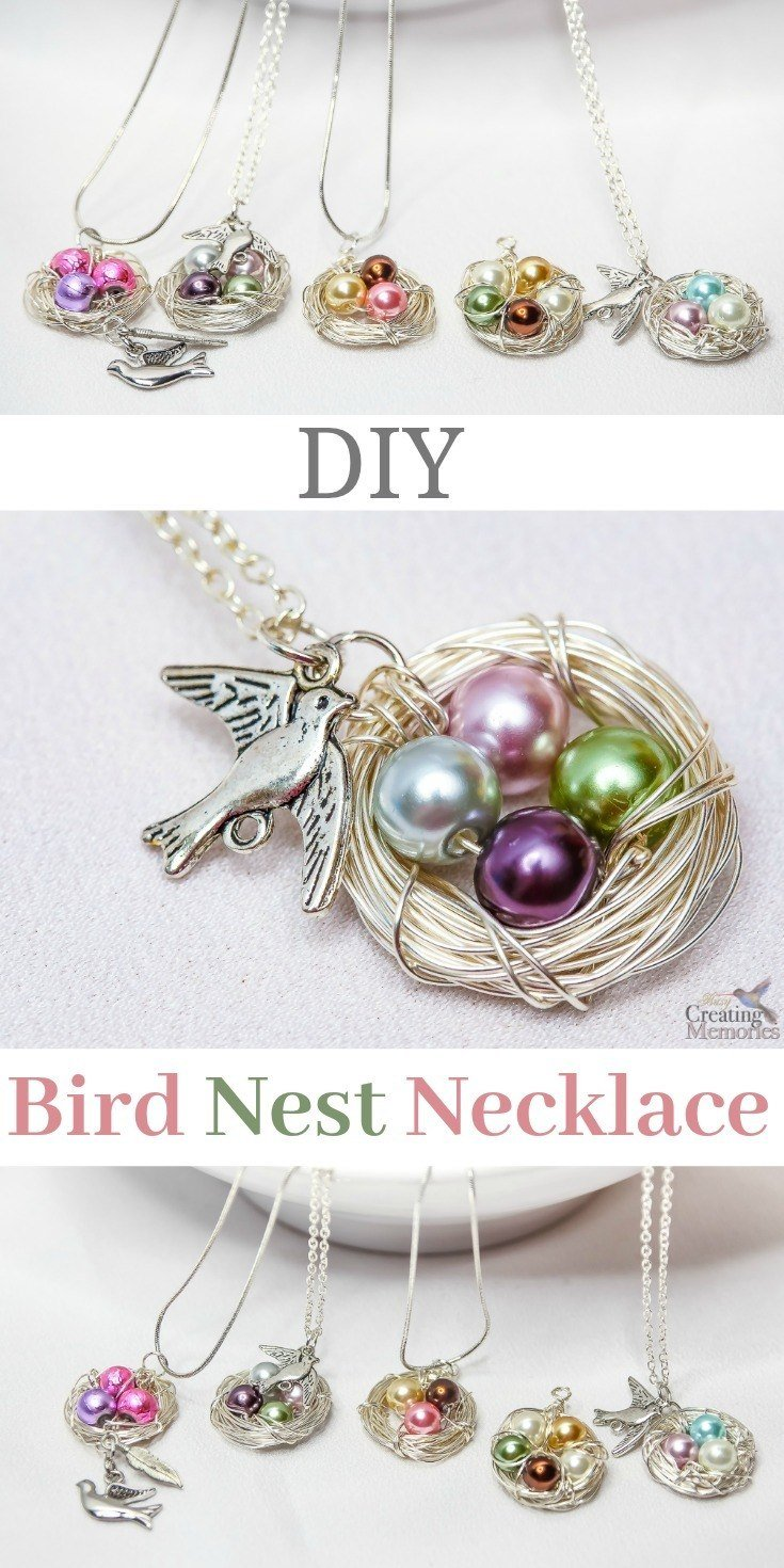 Use our simple step by step tutorial shows you how to make a beautiful handmade DIY birds nest necklace that looks absolutely stunning. This simple jewelry making project is simple for beginners and only takes about 30 minutes. It also makes for a great gift for Moms on Mother's Day, grandmother, a daughter, a dear friend, girlfriend or just yourself!  It is Easy to customize with birthstones and charms! Each one is unique! A simple gift idea they'll just love!