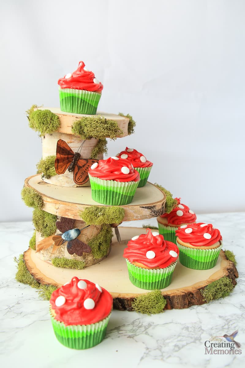 Rustic Cupcake Stand for an Easy Woodland Fairy Dessert Centerpiece