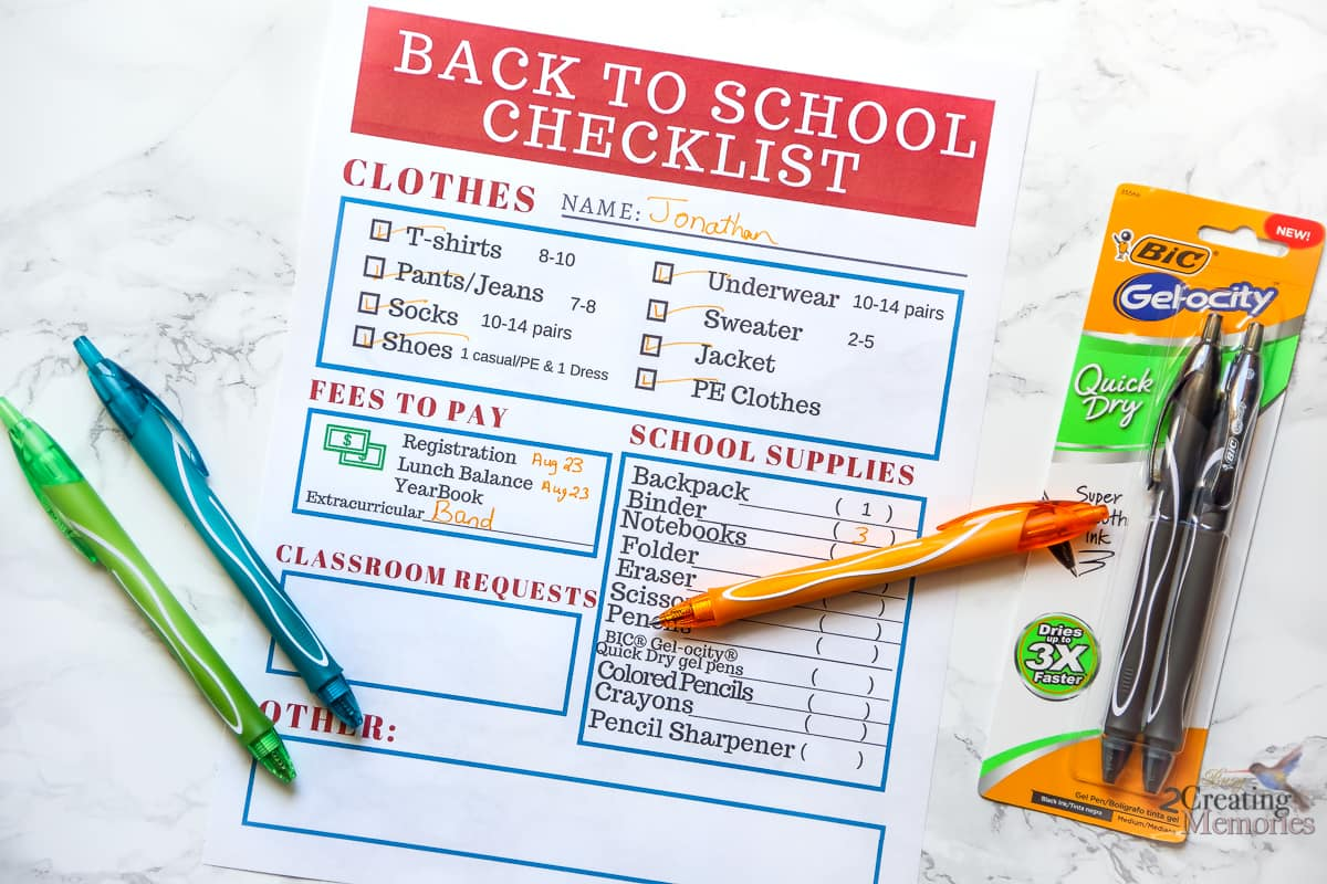 Back to School Shopping Checklist Printable & secrets to no ink smears