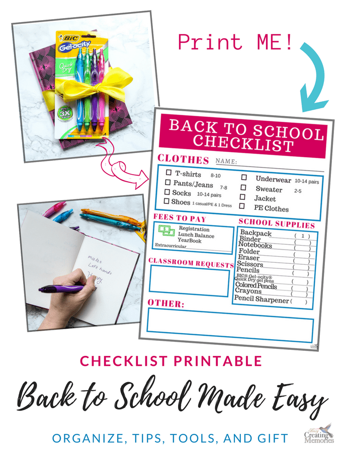Back to School Shopping Checklist Printable