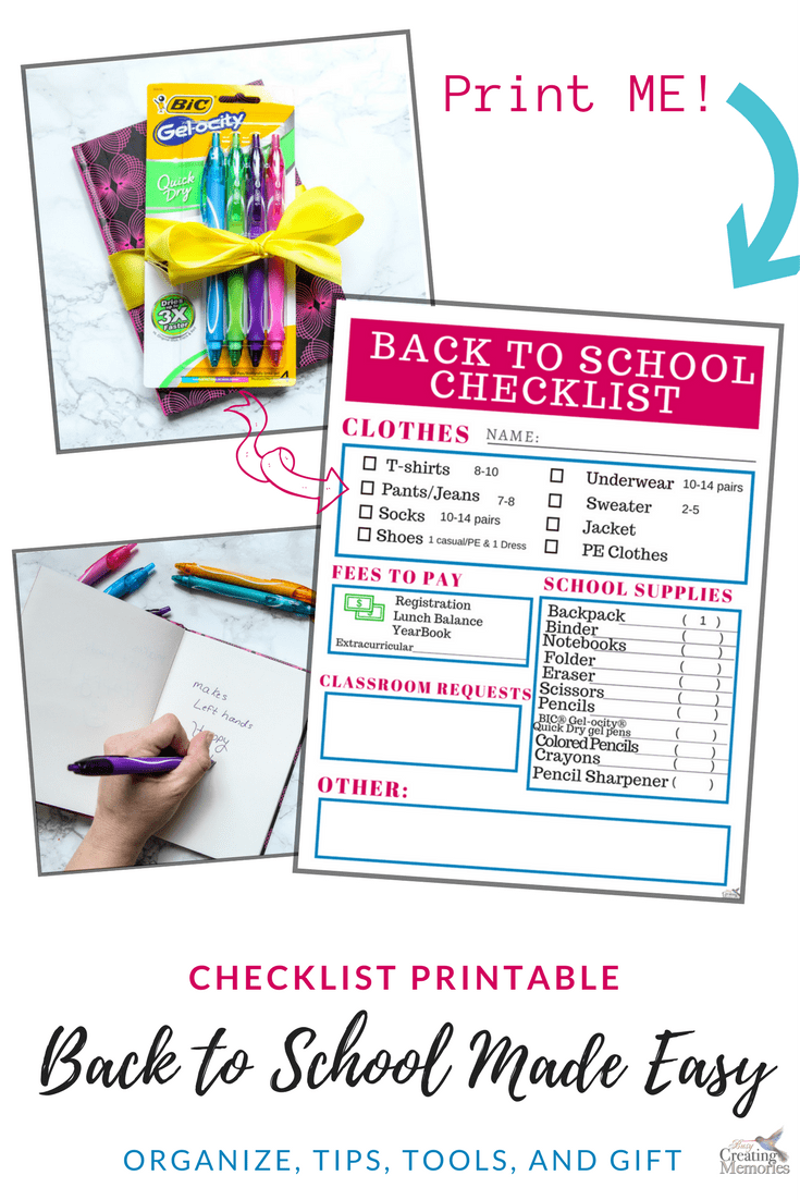 Print our free back to school shopping checklist to stay organized and ensure you get everything you need for your child for before school starts. Plus the secrets to no more ink smears on hands for note taking in class!
