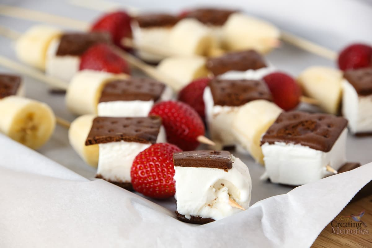 Delicious FatBoy Banana Split Kabobs Ice Cream sandwiches on a stick!